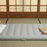 Японская неболшая комната с матрасом для сна в ночное время