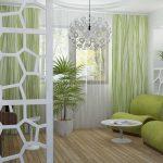 Зеленая гостиная в эко стиле