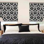 Черно-белые шторы у изголовья кровати