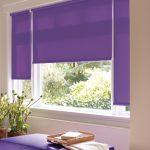 Фиолетовые роллеты на пластиковом окне