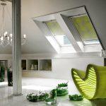 мансардные окна с мини шторами рулонного типа
