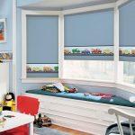 Голубые шторы в детской комнате
