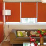 Дизайн гостиной с бардовыми роллетами