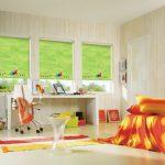 Зеленые шторы рулонного типа