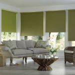 Кассетные жалюзи зеленого цвета для гостиной