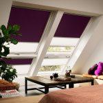Окна мансарды с рулонными шторами из плотной ткани