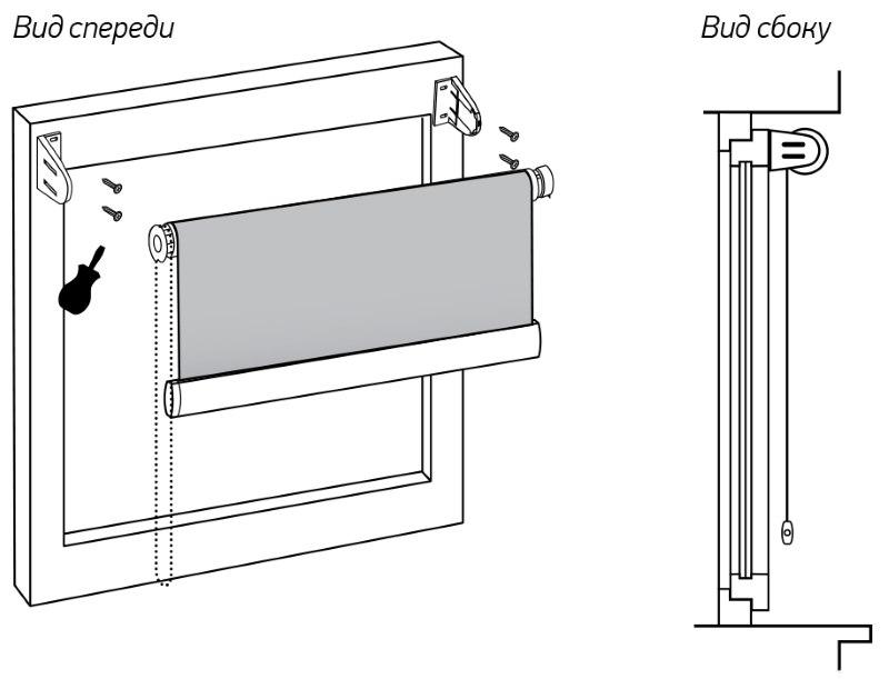 Монтаж рулонной шторы системы мини на саморезы