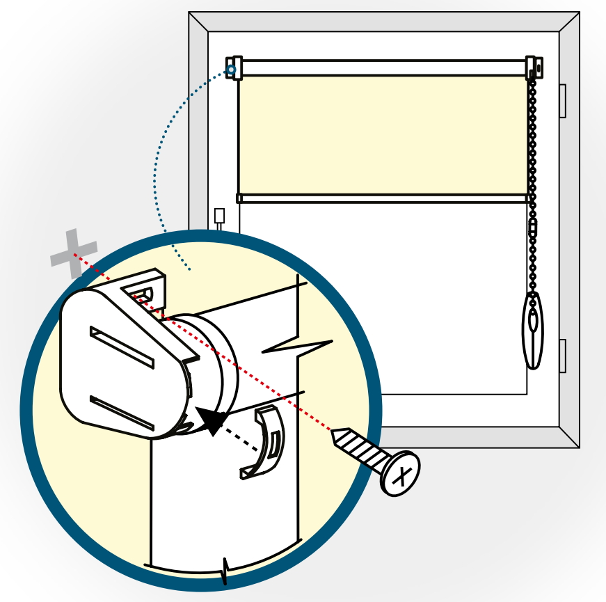Монтаж шторы рулонного типа на саморезы