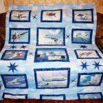 Необычное лоскутное одеяло для мальчика-подростка с самолетами