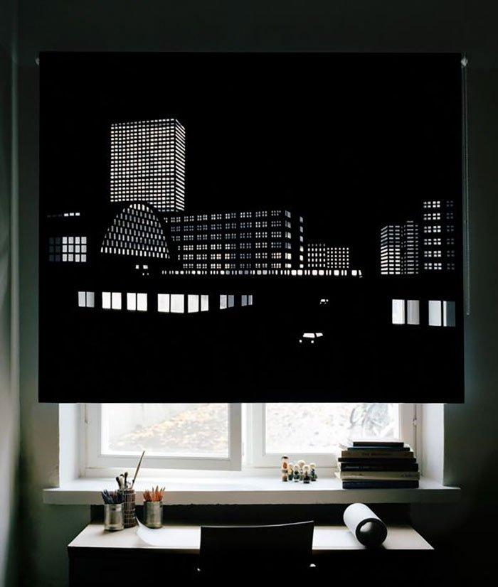 Изображение мегаполиса на шторах с перфорацией