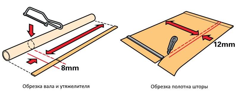 Обрезка вала и полотна рулонной шторы по ширине створки