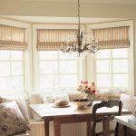 Полосатые римские шторы для окна неправильной формы