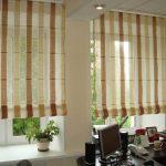 Римские шторы в полоску для кабинета