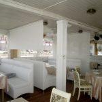 Рулонные шторы можно вписать в интерьер ресторана и испольовать как разделитель