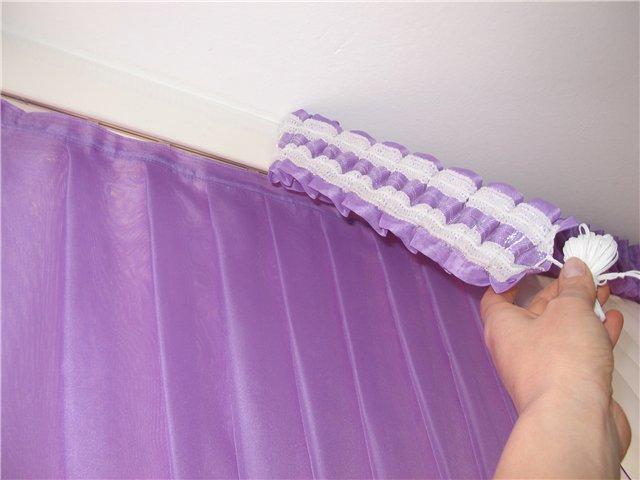 Закрепление занавески с помощью ленты