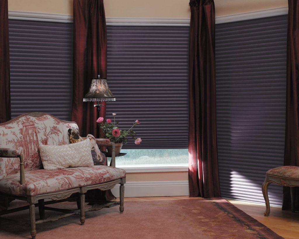 Темные шторы плиссе на окнах гостиной