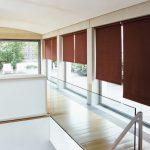 Шторы рулонные коричневого цвета для панорамных окон