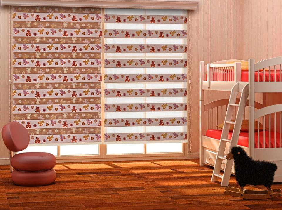 Дизайн детской комнаты со шторами день ночь