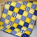 Сине-желтое объемное одеяло в морском стиле