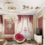 Стильный бордовый ламбрекн и шторы для шикарной спальни