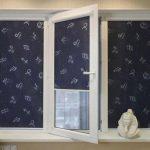 Темно-синие шторы со знаками зодиака для неординарного интерьера