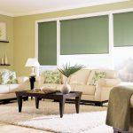 Темно-зеленные рольшторы для гостиной