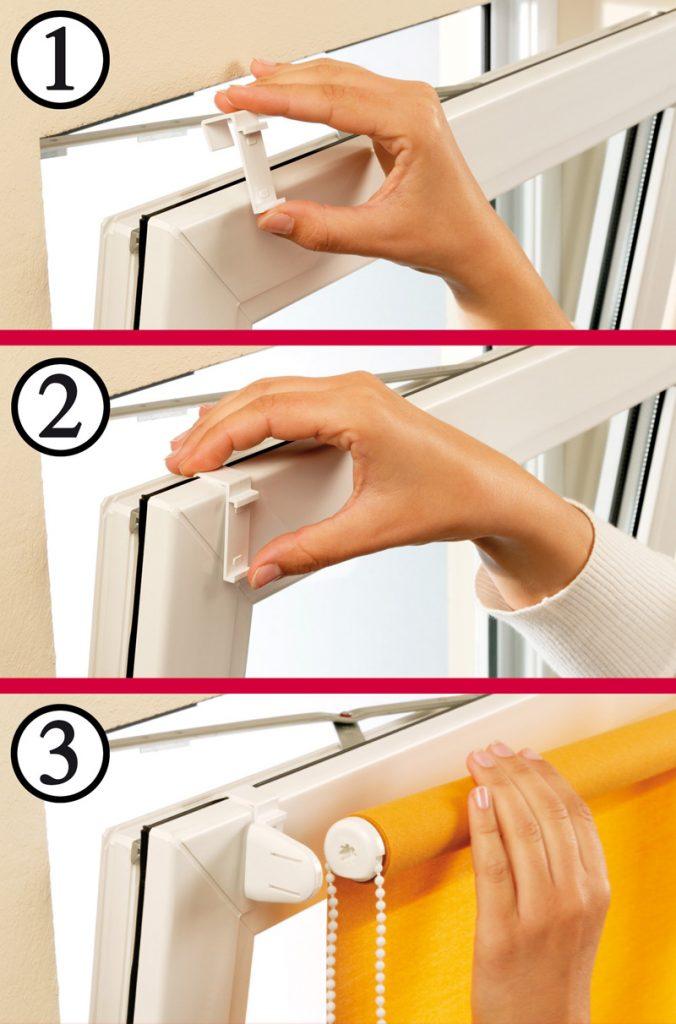 Процесс установки рулонной шторы на подвесные кронштейны