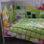 Воздушное одеяло бонбон и бортики в кроватку ручной работы