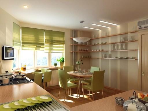 Зеленые шторы отлично сочетаются с мебелью и декором