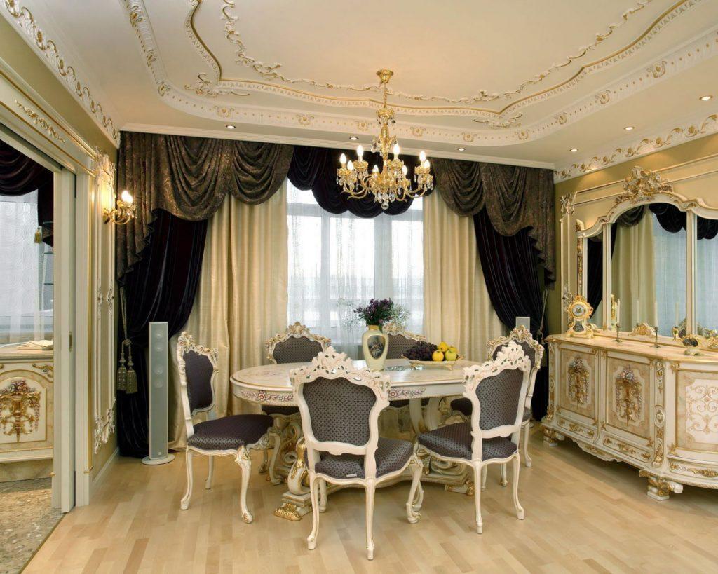 Обеденная зона гостиной в классическом стиле