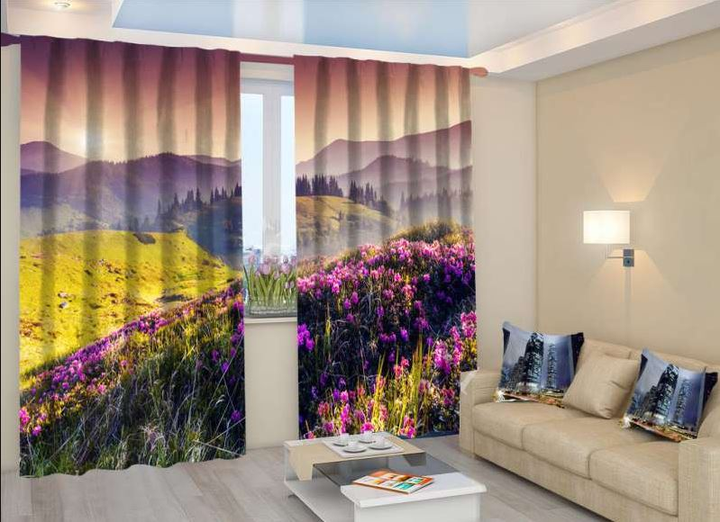 Фотошторы с лавандой в интерьере гостиной