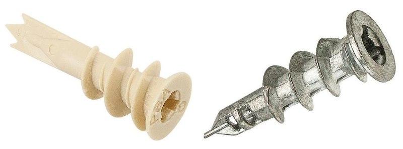 Пластиковый и металлический дюбель Дрива