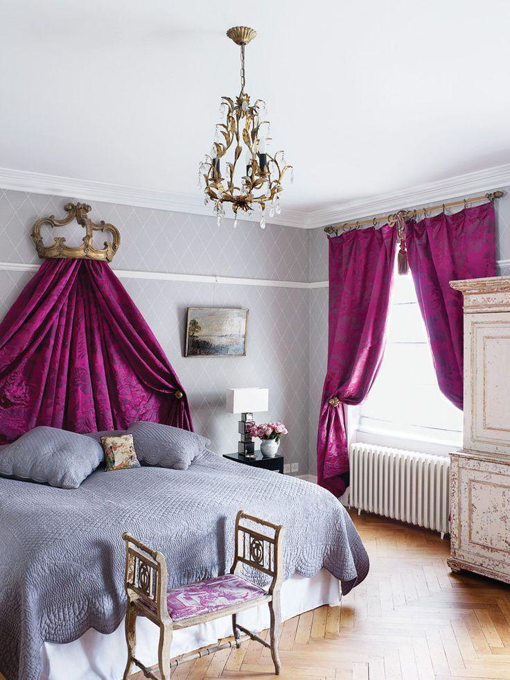 Использование фиолетовой ткани в оформлении спальни