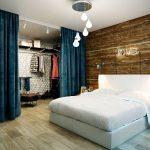 Бархатные шторы в спальне стиля лофт