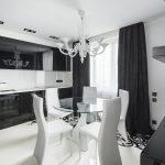 Черные фасады кухни в стиле хай тек
