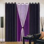 Фиолетовая штора между черными занвесками