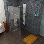 Душевая стойка без поддона в ванной комнате