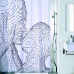 Синтетическая шторка в душе с рисунком