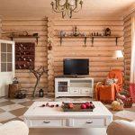 Дизайн зала в бревенчатом доме