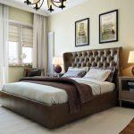 Двухспальная кровать с кожаным изголовьем