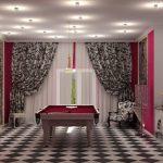 Керамический пол в зале с пестрыми шторами