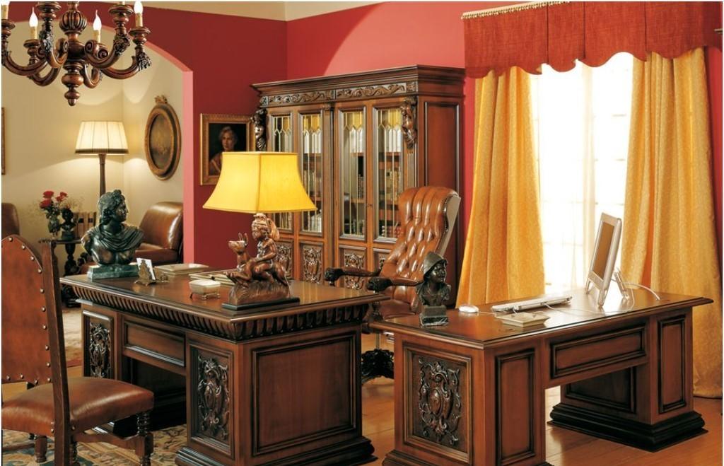Добротная мебель из дерева в кабинете директора