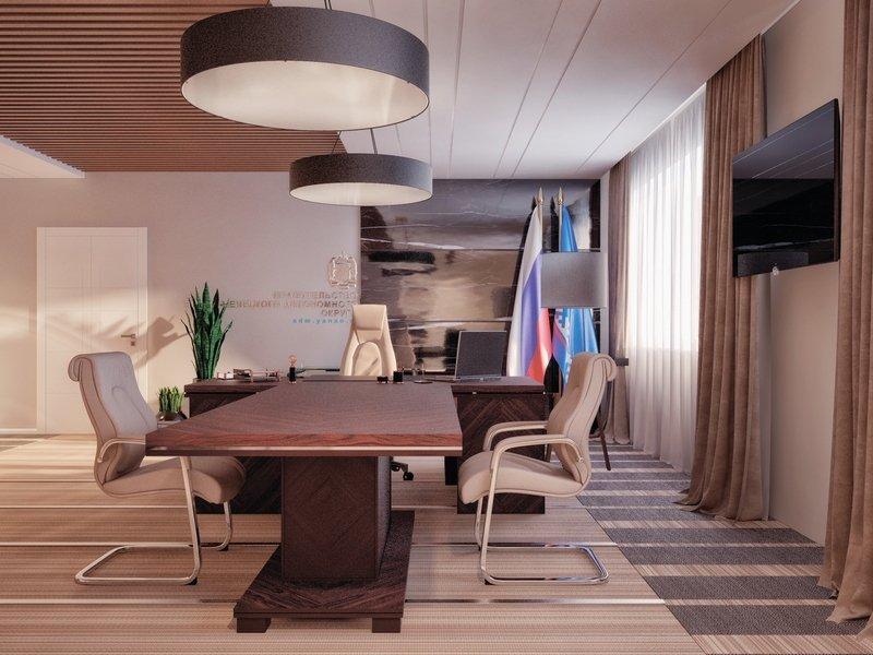 Дизайн кабинета руководителя с прямыми шторами