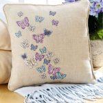 Подушка с бабочками для декора в интерьере
