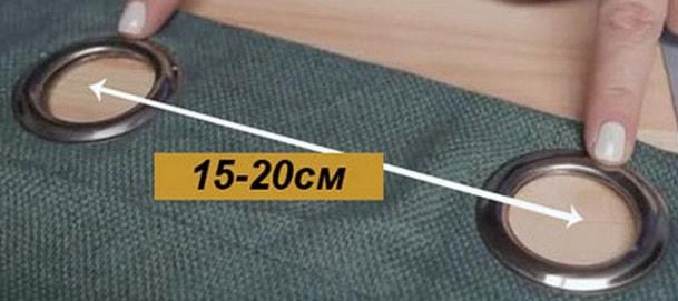 Рекомендуемое расстояние между люверсами на полотне шторы