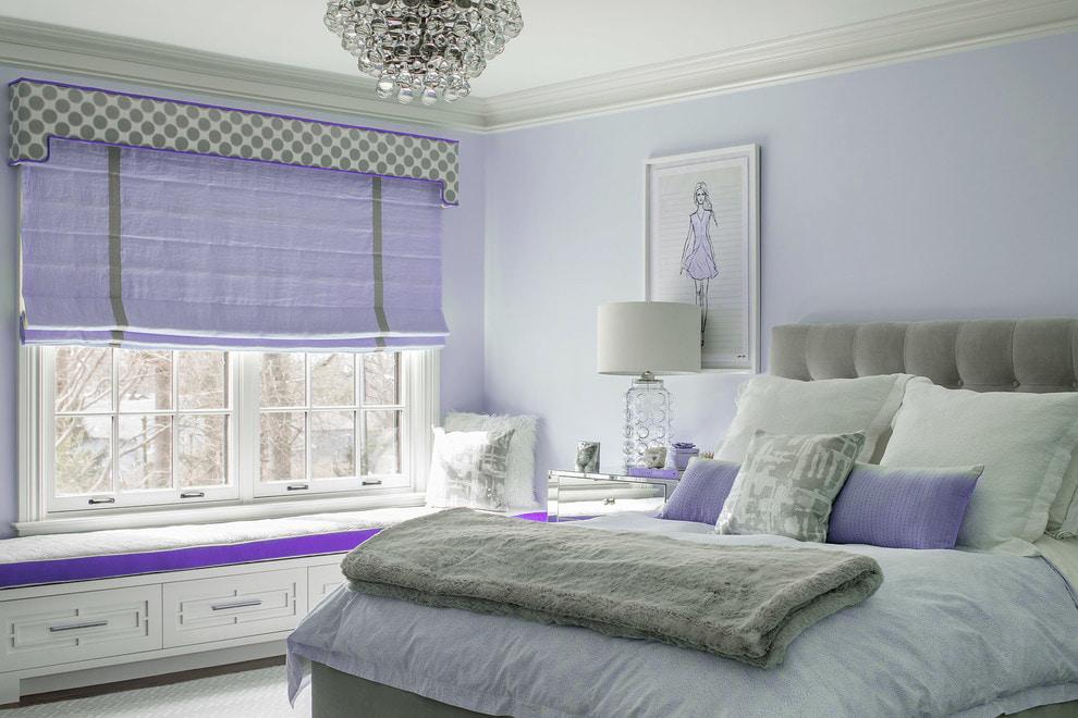 Римские шторы светло-фиолетового цвета