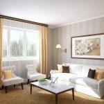Полосатые обои в дизайне гостиной