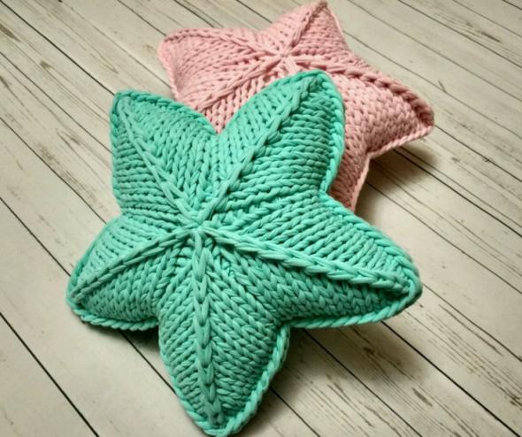 Одноцветные подушки-звездочки