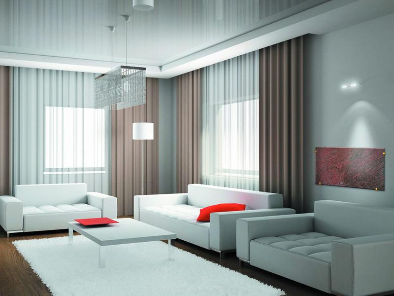 Три дивана в гостиной стиля минимализм