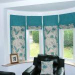 Бирюзовые шторы на эркерное окно на липучках